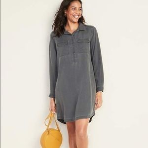 (NWOT) Old Navy faded twill shirt dress
